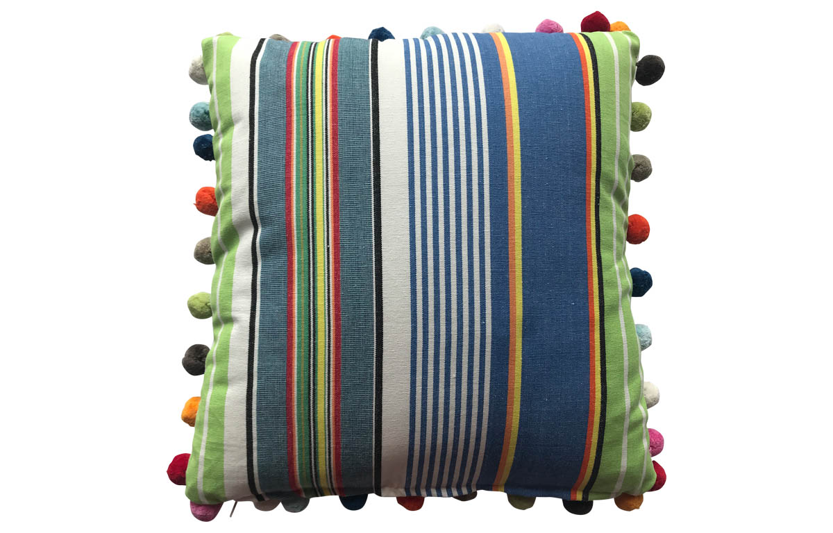 Bright Blue, Denim Blue and Lime Green Striped Pompom Cushions 50x50cm
