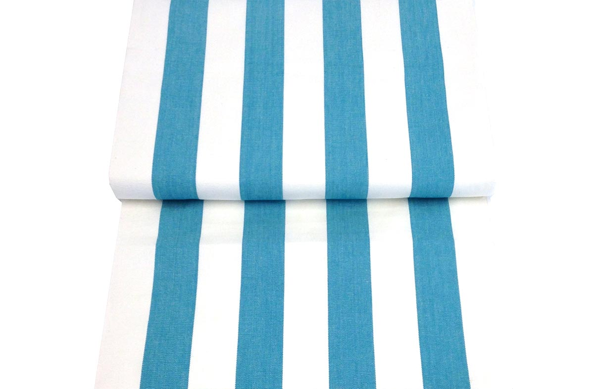 Turquoise and White Stripe Replacement Deck Chair Sling