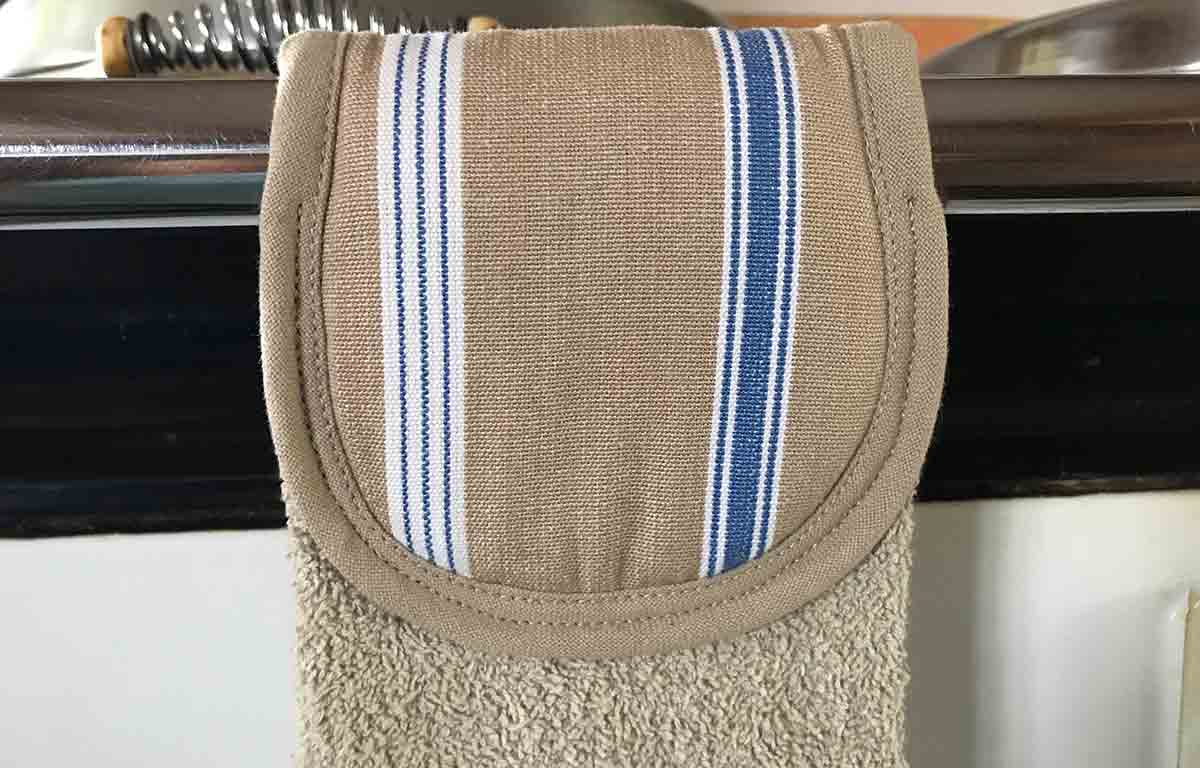 Beige and Blue Aga Towel | Hanging Hand Towels for Ranges