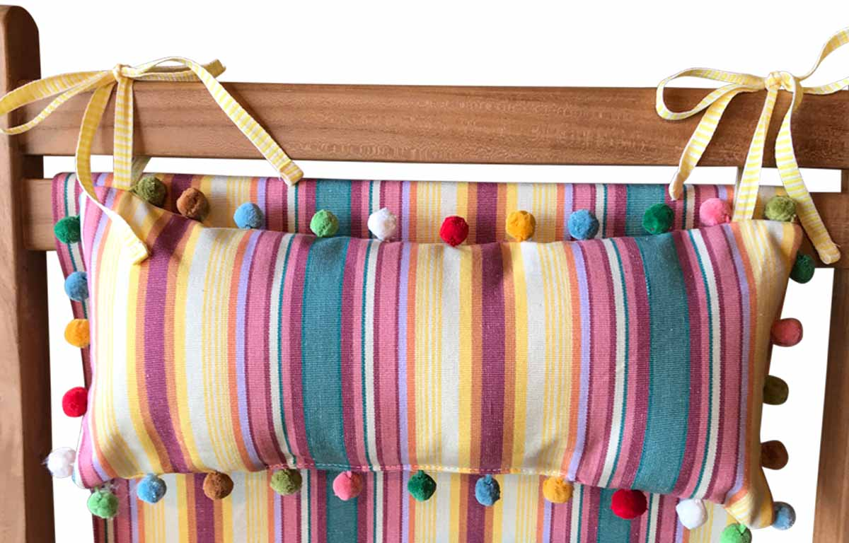 Waltzing Deckchair Headrest Cushions | Tie on Pompom Headrest Pillow yellow, pink, green