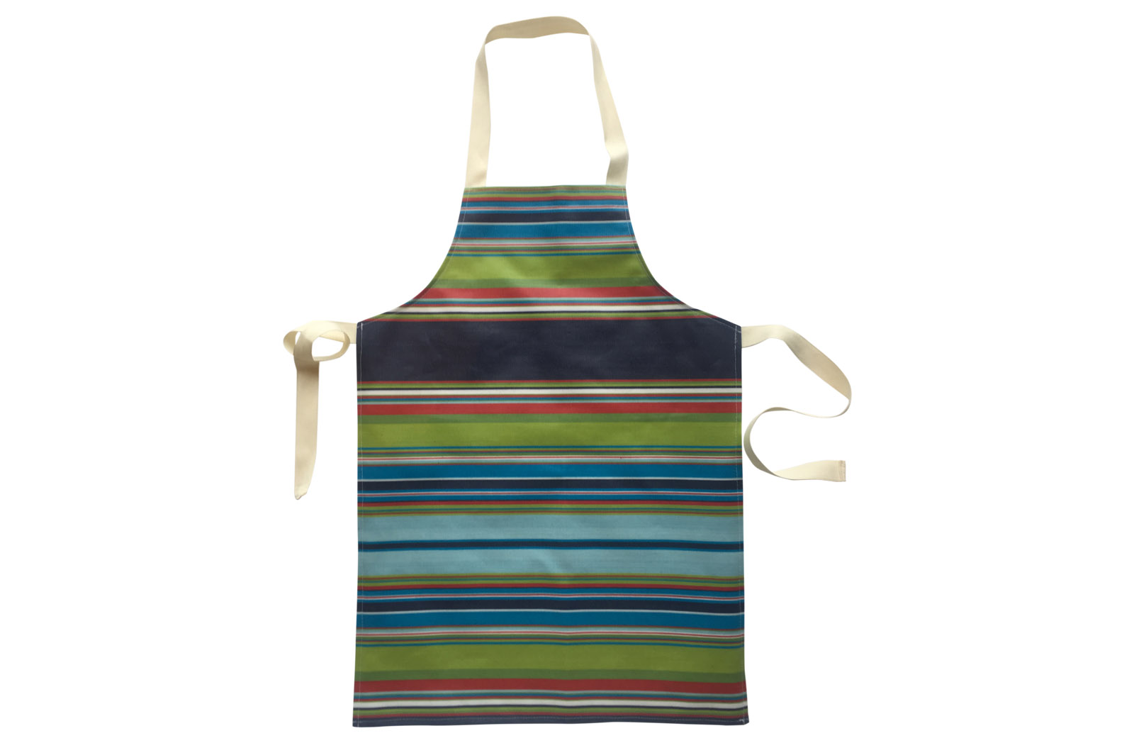 PVC Oilcloth Apron for Children - navy blue, pale blue, turquoise, green, red stripes