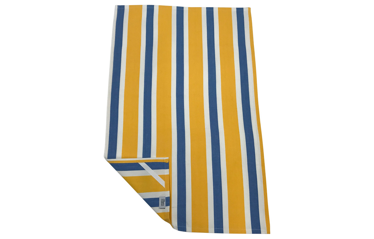 Yellow, Sky blue and white Stripe Tea Towels