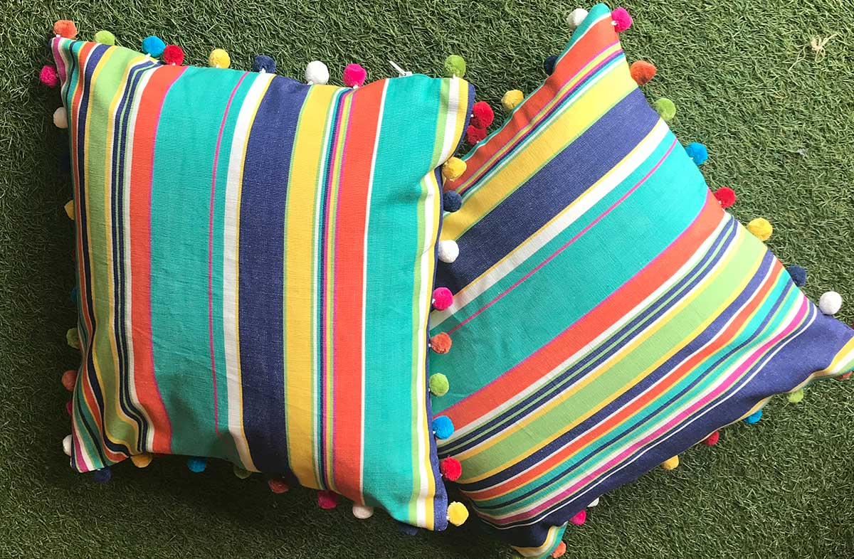 Turquoise, Pale Green and Royal Blue Stripe Pompom Cushion 50x50cm