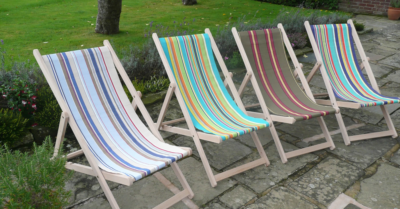 Deckchair fabrics for recovering traditional folding wooden deck chairs
