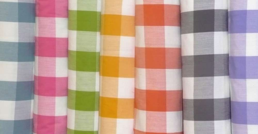 Gingham Oilcloth Fabrics Wipeable Gingham Fabric The
